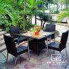 Bàn Ghế Cafe Nhựa Giả Mây MT2A30